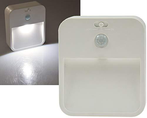 ChiliTec LED Nachtlicht mit Bewegungsmelder und Helligkeitssensor Tag Nacht Erkennung I Batterieleuchte mit 90° Sensor I 3X AA Mignon Weiß