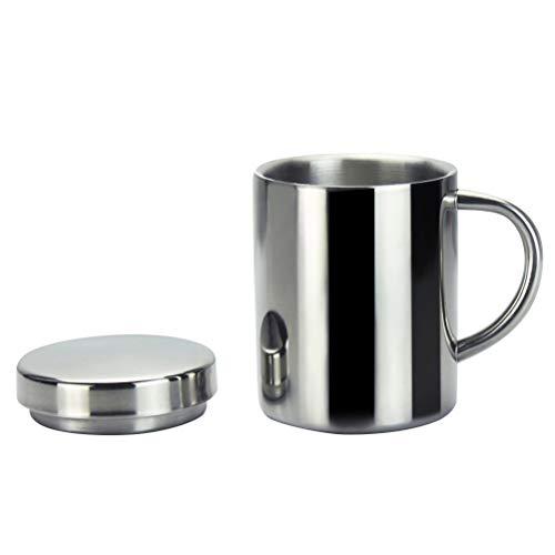 BESTONZON Edelstahl Isolierte Trinkbecher mit Deckel Griff Teetasse Kaffeetasse Doppelschichten Wärmer 220ml