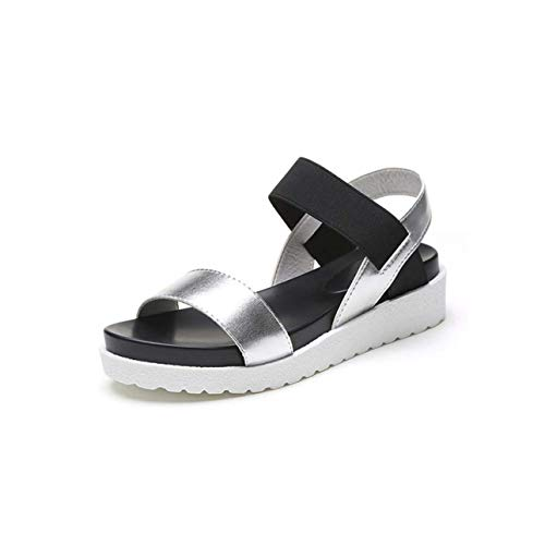 Flat Sandals Fashion Women Sandals Peep Toe Ladies Sandals Summer Shoes Women Platform Casual Shoes Slip On Roman Classic Sandal Rosy Red 6.5 -