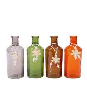 Jarrón botella & flores gris verde naranja marrón cristal H16cm, verde, 6*6*16cm