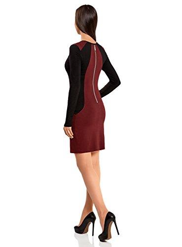 oodji Ultra Femme Robe Moulante avec Empiècements Contrastés Rouge (4929B)