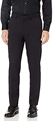 Kenneth Cole REACTION Men's Heather Gab Slim Fit Flat Front Flex Waistband Dress