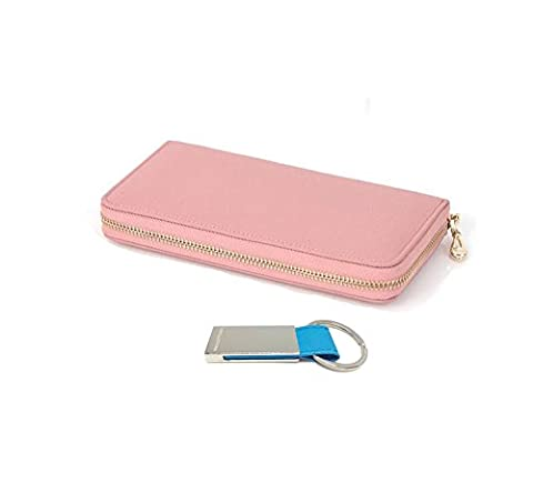 Women's Genuine Leather Purse Long Organizer Wallet with Wrist Strap Clutch (Indi Pink)