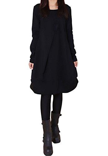 100% authentic 306d3 d639b Vestiti Donna Eleganti Autunno Invernali Manica Lunga Rotondo Collo Casual  Larghi Tinta Unita Hippie Moda Irregolare Al Ginocchio Maglietta Abito ...