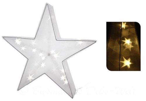 LED Hologramm Stern mit 20 LEDs 45x45cm warmweiß Weihnachtsdekoration 3D-Stern Weihnachtsbeleuchtung