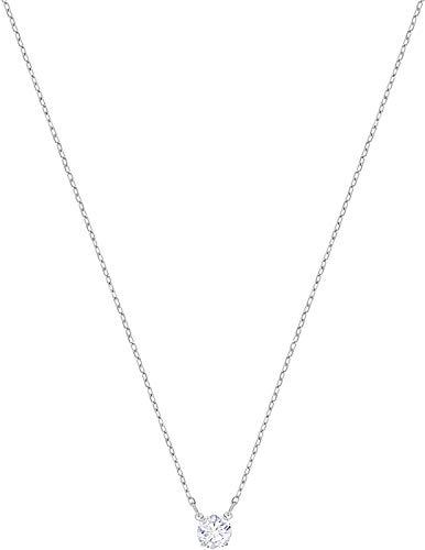 Swarovski collana attract round, cristallo bianco, rodiata, da donna