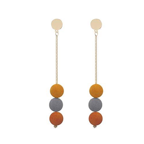Winwinfly Vintage Lange Hängende Ohrringe Gold Farbe Holz Perlen Anhänger Metall Quaste Tropfen Ohrringe für Frauen SchmuckFoto Farbe