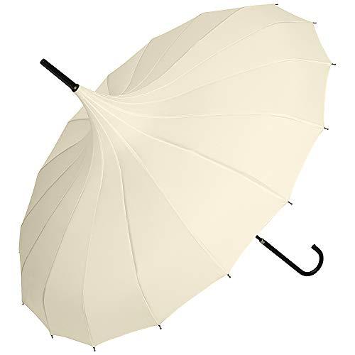 VON LILIENFELD Regenschirm Damen UV-Schutz Braut Hochzeit Pagode Fabienne, creme/ivory