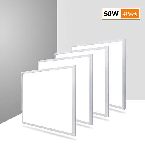 4X Natur 62x62CM Led Deckenleuchte 50W, 5000LM Panel LED Ultra Dünn Lichtfarbensteuerung LED Panel Lampe, Dekenlampe LED für Laden, Büro, Wohnzimmer[Energieklasse A++] -