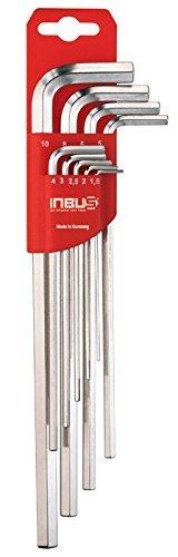 INBUS® 70013 Inbusschlüssel Set Extra Lang 9tlg. 1,5-10mm | Made in Germany | Innensechskant-Schlüssel | Winkel-Schlüssel | metrisch | 1,5mm | 2mm | 2,5mm | 3mm | 4mm | 5mm | 6mm | 8mm | 10mm | Lange Ausführung