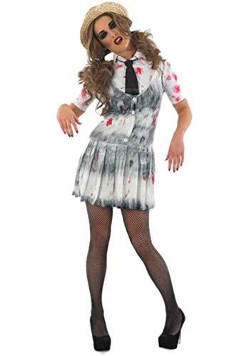 Fancy Me Damen Sexy Toter Zombie Schulmädchen Halloween Kostüm Kleid Outfit - weiß& grau, 12-14 (Zombie Schulmädchen Halloween-outfit)