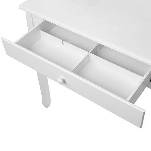Songmics® Schminktisch Frisierkommode Frisiertisch Kosmetiktisch mit Spiegel inkl. Hocker, weiß, Holz, RDT002 - 9