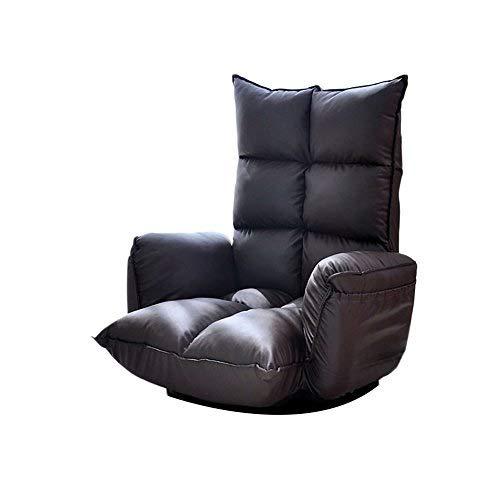 KJRJSF Single Recliner Stuhl Gepolsterte Sitzfläche PU Leder Wohnzimmer Sofa Recliner Moderne Recliner Sitz Club Stuhl Heimkino Sitz (Color : Black) -