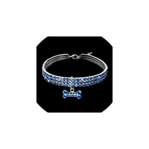 Rhinestone Dog Collar Crystal Puppy Chihuahua Pet Dog Collars Leashs Accessories,Blue,S -