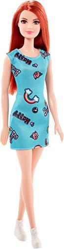 Barbie FJF18 Chic Puppe im blauen Kleid mit Prints (rothaarig)