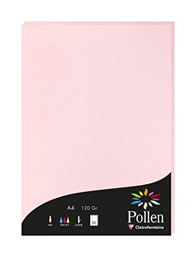 Clairefontaine 4281C Packung mit 50 Karten Pollen 120g, DIN A4, 21 x 29,7cm, Rosa