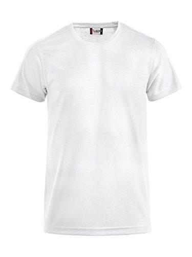 Herren Funktions T-Shirt aus Polyester von CLIQUE. Das T-Shirt für den Sport, perforiert und feuchtigkeitsabführend in Weiss, Grösse M