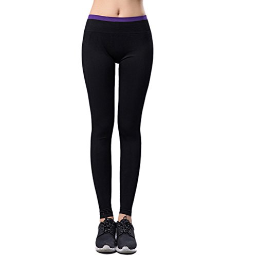 Zhhlaixing Women's Yoga Leggings Running Fitness Tights Pants Wide Waist Elastic Skins Stitched Bottom Purple