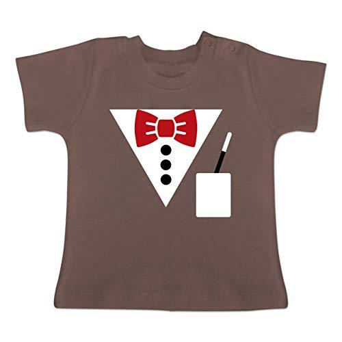 Karneval und Fasching Baby - Magier Kostüm - 3-6 Monate - Braun - BZ02 - Baby T-Shirt (Winter Hexenmeister Kostüm)