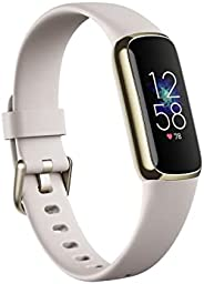 Fitbit Luxe Fitness & Wellness Tracker, Lunar White/Soft Gold Stainless Steel, Soft Gold/W