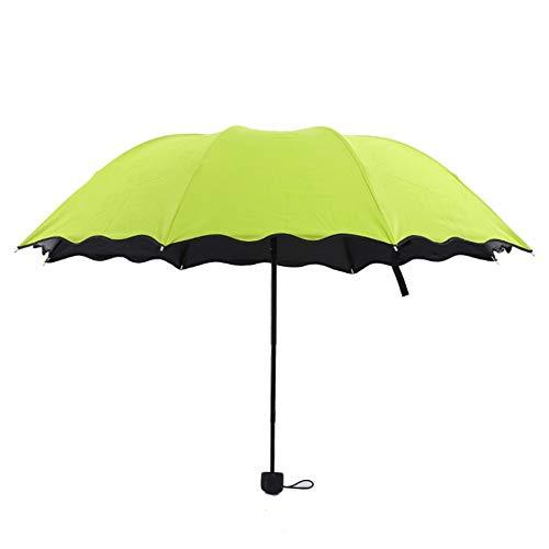 Magischer Farbwechsel Regenschirm, Regenfalten Regenschirm, Magic Sonnenschirm Regenschirm Folding Umbrella Regenschirm Wasser Blühen (Grün)