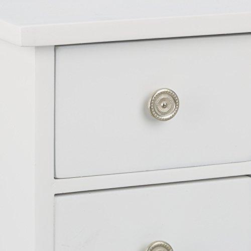 Relaxdays Schmuckkästchen mit Tür H x B x T: ca. 30 x 26 x 11 cm großer Schmuckkasten mit 4 Fächern Schmuckschrank aus Holz mit Schubladen und Spiegel Schränkchen mit Schmuckhalter für Ketten, weiß - 6