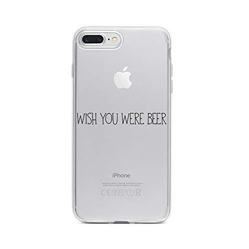 licaso Apple iPhone 7 Plus Handyhülle Smartphone Apple Case aus TPU mit Wish You were Beer Print Motiv Slim Design Transparent Cover Schutz Hülle Protector Soft Aufdruck Lustig Funny Druck