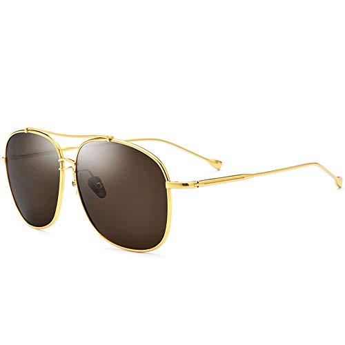 MQW Ultraleichte Sonnenbrille Aus Reinem Titan, Männliche Fahrer-Schutzbrille, Polarisierte Quadratische Sonnenbrille, Weiblicher Goldrahmen, Braune Linse, UV400-Schutz Mode Persönlichkeit