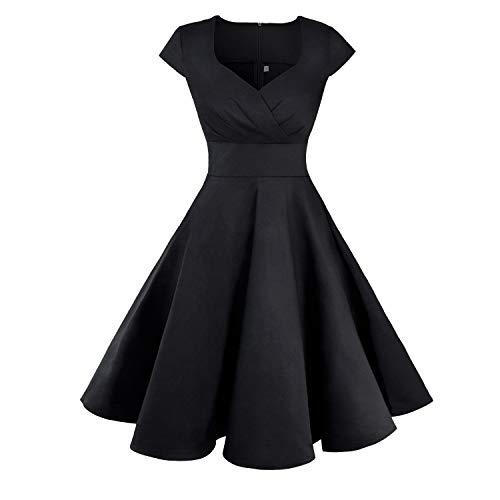 UPhitnis Damen Cocktailkleid 1950er Vintage Retro Rockabilly Kleider V-Ausschnitt Elegant Kleid Faltenrock Schwarz - V-ausschnitt Weiß Abschlussball Kleider