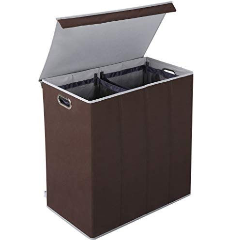 Wäschekorb Sortierer 2 Fächer, Rackaphile Wäschebox Wäschetruhe Wäschekiste Faltbar mit abnehmbarem Deckel und 2 abnehmbaren Netztaschen, stabil, Große Kapazität, einfach zu transportieren, brown