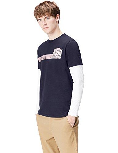 FIND Herren Langarmshirt IM Lagen-Look Blau (Insignia Blue 001)