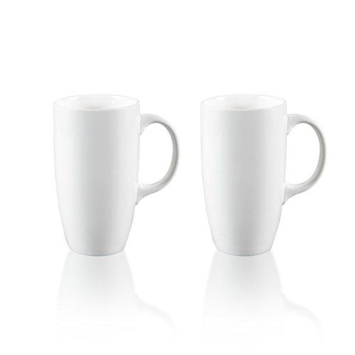 Panbado 2-teilig Große Kaffeetassen aus Weiß Porzellan, 550 ml Tassen Set, 5' Kaffeepott, Becher,...