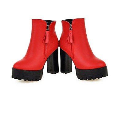 Sanmulyh Chaussures Femme Matériaux Personnalisés Hiver Mode Bottes Bottes Chunky Talon Bout Rond Orteil Fermé Pour Bureau Mariages Et Carrière Rouge Rouge