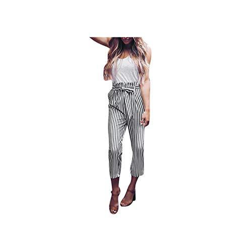 Damen-Hosen mit hohen Taille Harem Pants Women Bowtie-elastische Taillen-Streifen beiläufige Ladung Hosen, A Show, M -