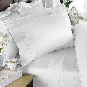 Parure de lit en coton égyptien 800 fils/cm² - Drap profond pour lit super king size - Blanc