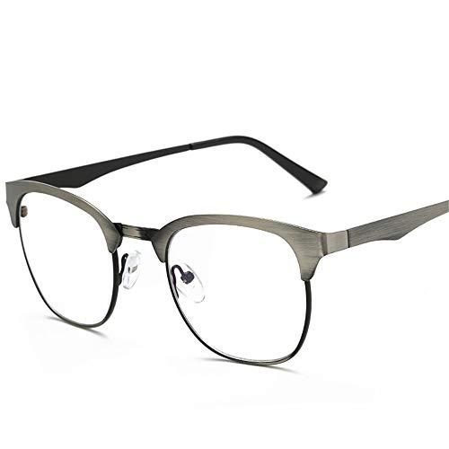 AdorabFrames Brille Blaulicht Brillengestell Metall großer Rahmen flacher Spiegel klassisch Brillengestell Unisex gebürsteter Draht