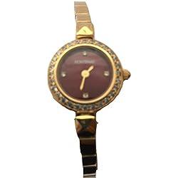 Fontenay Damen burgund Stein Zifferblatt 18kt vergoldet Armband Armbanduhr