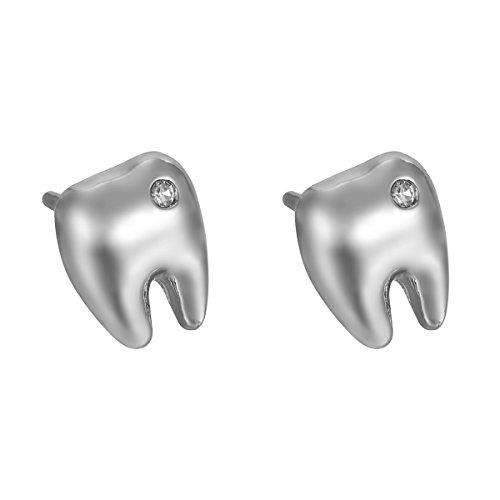 mant Ohrringe Frau Zähne-Ohrstecker 9.5mmx8mm,Silber (Zahn Ohrringe)