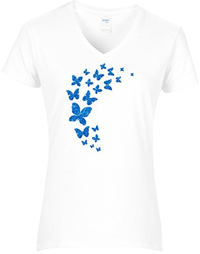 Fun Shirt Damen Premium Fun Shirt Damen Schmetterlinge im Schwarm Glitzeraufdruck Türkis Weiß