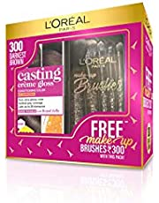 L'Oreal Paris Casting Crème Gloss Hair Color, 300 Darkest Brown with Free Makeup Brushes