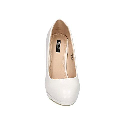 Klassische Damen Pumps Stilettos High Heels Plateau Abend Party Schuhe Bequem 074 Weiß