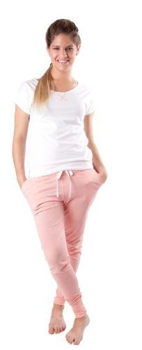 Only You - Maggie - Schlafshirt Sleep Shirt Pyjamahose Damen Pyjama Sleepshirt inkl. Hose Weiß/Rosé