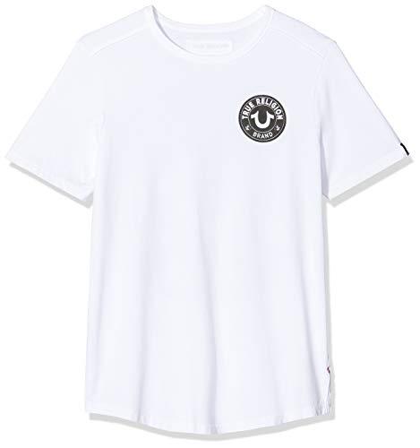 True Religion Herren Crew MULTILOGO White T-Shirt, Weiß 1700, Small (Herstellergröße: S)