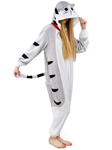 Mädchen Frauen Kostüm Cat - Damen Fleece Einteiler Nachtwäsche Pyjama Kostüm Kapuze CHI'S CAT grau Gr. S