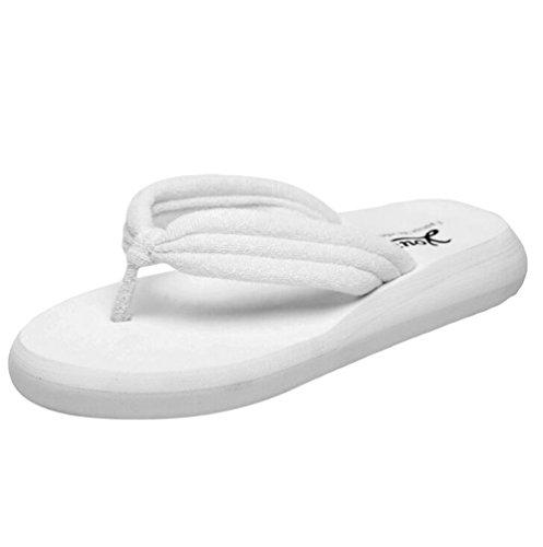 Yiiquan Donna Estate Sandali Pantofole Zeppa Infradito Spiaggia Sandali Bianco #1