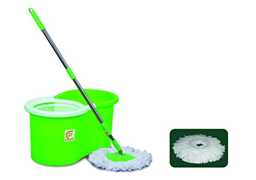 Esquire Spin Mop with 360° Spin, Telescopic Rod and Free Refill (Green, White)