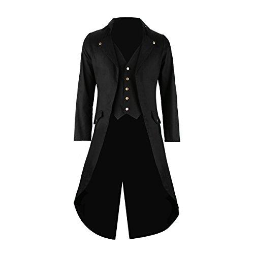 Cusfull Herren Frack Steampunk Gothic Jacke Victorian Mantel Zauberer Kostüm für Halloween Fasching Karneval Party Ball Schwarz (Halloween Kostüm Frack)