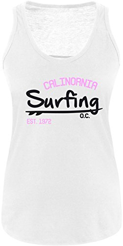EZYshirt Surfing California Damen Tanktop Weiss/Schwarz/Rosa