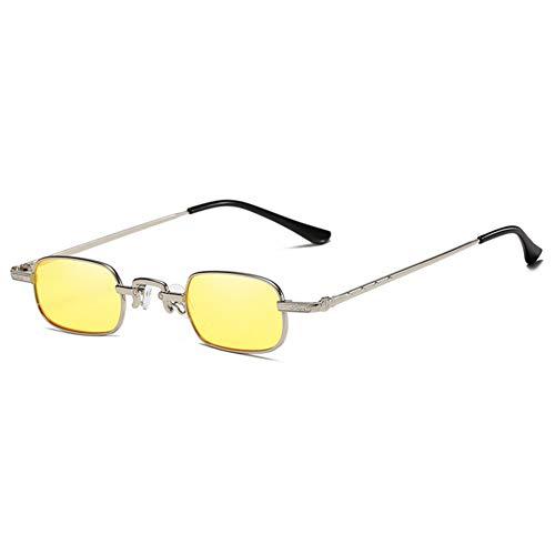 Wenkang Fashion Rectangle Sunglasses Vintage Small Metal Frame Sun Glasses Red Yellow Sunglass Shades,7