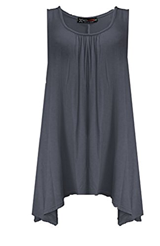 Fashion 4 weniger Damen Plus Größe Slouch Fit Weste Top Grau - Grau